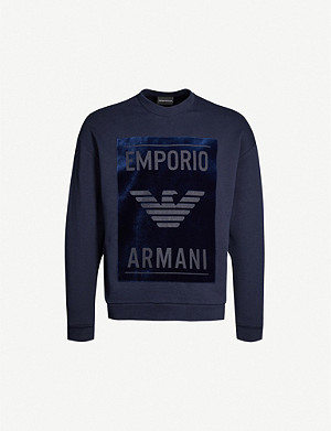 EMPORIO ARMANI Velvet-trimmed cotton-blend sweatshirt