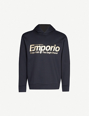 EMPORIO ARMANI Flash logo-print cotton-blend jersey sweatshirt