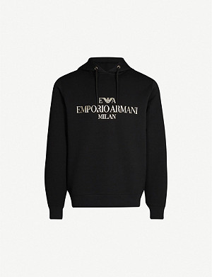 EMPORIO ARMANI Metallic eagle-logo cotton-blend jersey hoody