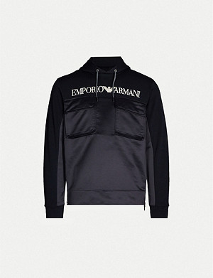 EMPORIO ARMANI Logo-print pocket-embellished stretch-jersey hoody