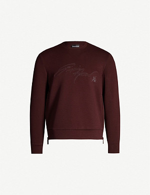 EMPORIO ARMANI Logo-embroidered stretch-cotton-blend sweatshirt