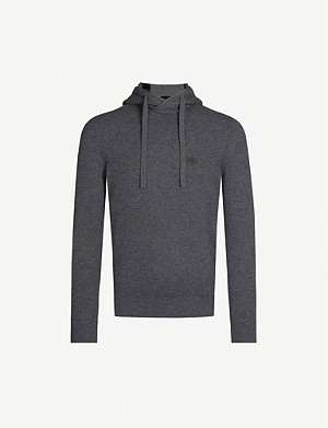 EMPORIO ARMANI Logo-badge wool and cashmere-blend hoody