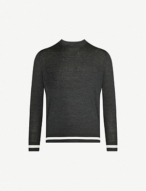 EMPORIO ARMANI Striped-trim logo-embossed stretch-wool jumper