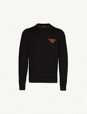 EMPORIO ARMANI Logo-embroidered knitted jumper