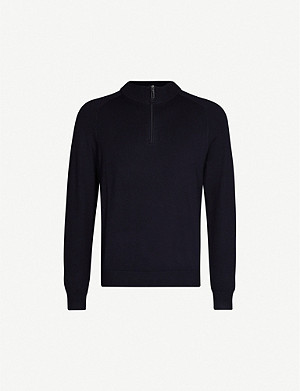 EMPORIO ARMANI Logo-ribbed knitted jumper