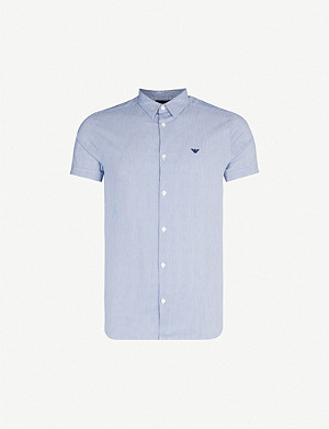 EMPORIO ARMANI Slim-fit cotton-blend short sleeves shirt