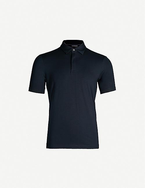 b23e1e01ca EMPORIO ARMANI Logo-embroidered stretch-jersey polo shirt
