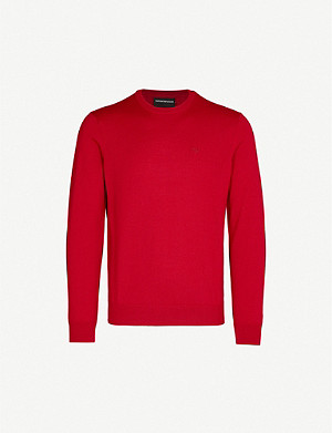 EMPORIO ARMANI Logo-embroidered merino wool jumper