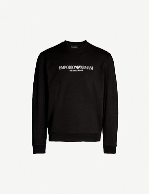 EMPORIO ARMANI Logo-print stretch-cotton sweatshirt