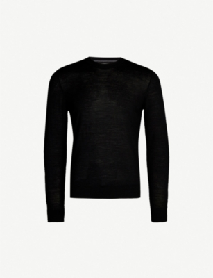 EMPORIO ARMANI Logo-embroidered wool jumper