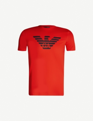 EMPORIO ARMANI Large Eagle logo cotton T-shirt
