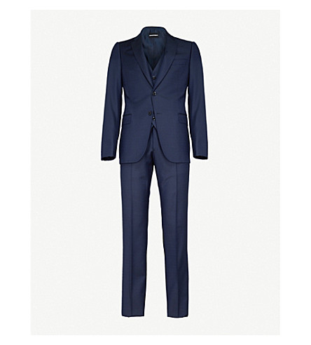 EMPORIO ARMANI Tailored-fit three-piece wool suit (Blue 97b411ea3db71