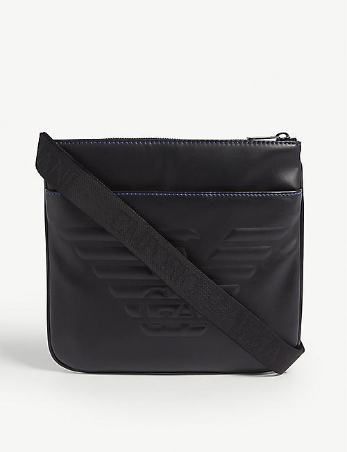 eacf8fd6b78 EMPORIO ARMANI Logo-embossed faux-leather cross-body bag