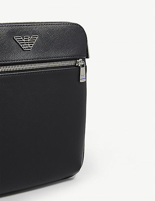 EMPORIO ARMANI Eagle logo leather messenger bag