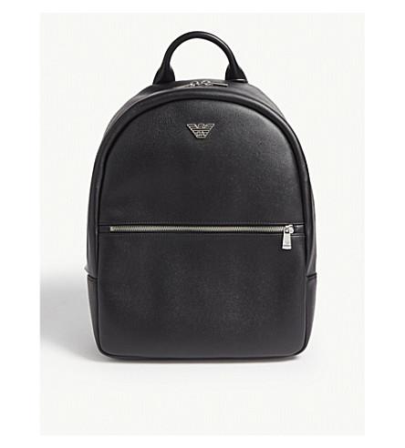 b657f6ccfe3c EMPORIO ARMANI Logo-appliquéd faux-leather backpack (Black