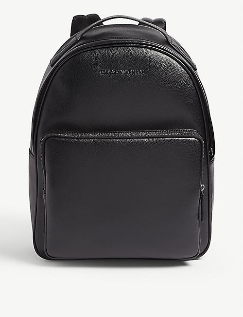 e502836e5dfd EMPORIO ARMANI Metal logo leather backpack