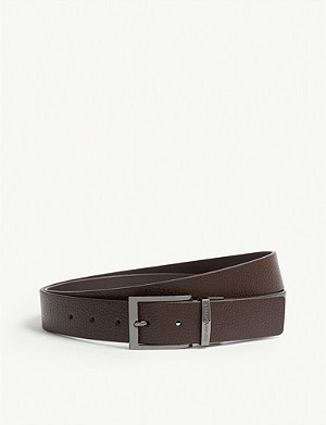 EMPORIO ARMANI Grained leather reversible belt