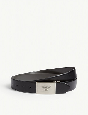EMPORIO ARMANI Logo-embossed leather belt