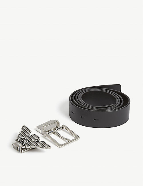 EMPORIO ARMANI Leather belt gift set