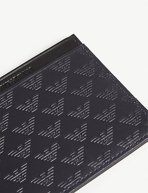 EMPORIO ARMANI Embossed logo leather card holder