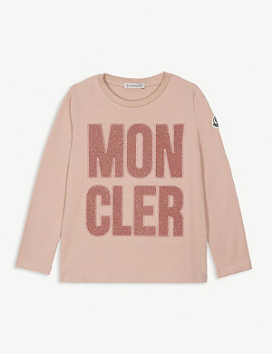 MONCLER Metallic logo cotton T-shirt 4-14 years