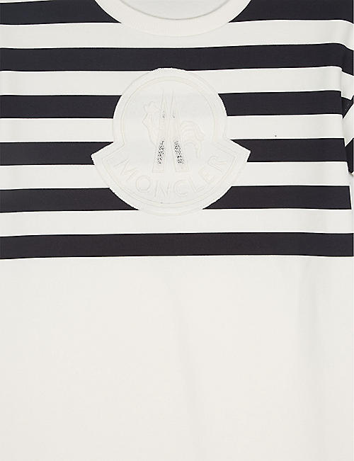 MONCLER Logo striped cotton-blend dress 4-14 years