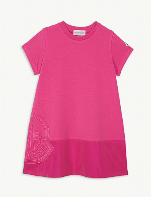 MONCLER Embroidered logo cotton-blend dress 4-14 years