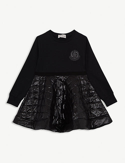 MONCLER Quilted padded shell and cotton-blend dress 4-12 years