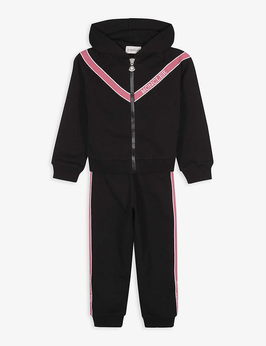 MONCLER: Logo tape cotton-blend tracksuit 4-14 years