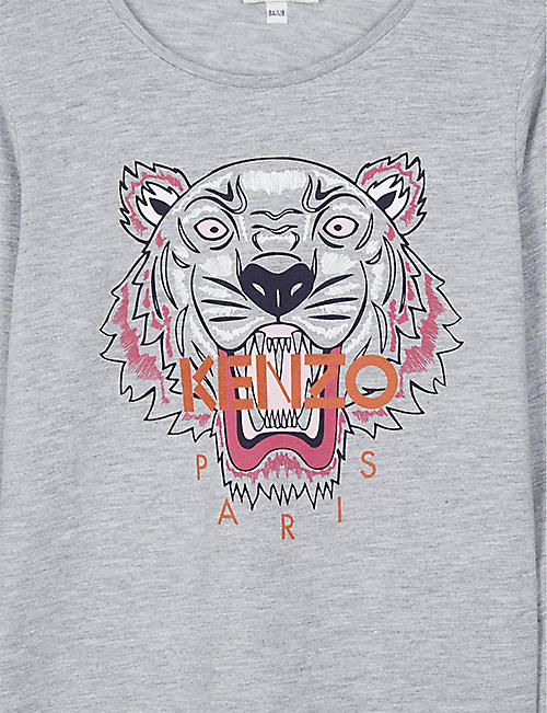 KENZO Tiger print cotton-blend long-sleeved T-shirt 4-16 years