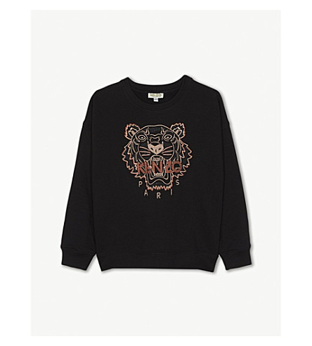 db0c6af3db KENZO - Tiger metallic-embroidered cotton sweatshirt 4-16 years ...
