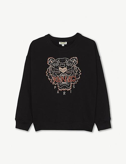 KENZO Tiger metallic-embroidered cotton sweatshirt 4-16 years 4cec5c934ef84