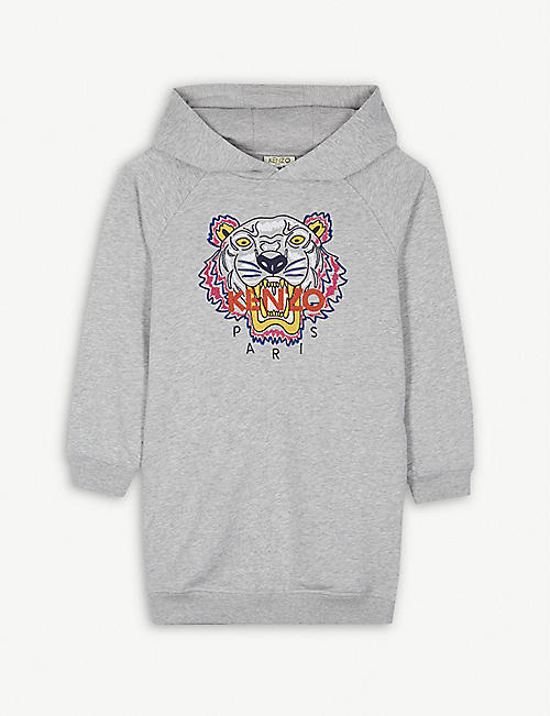 64ffd190a9f KENZO Tiger logo cotton-blend hooded dress 4-16 years