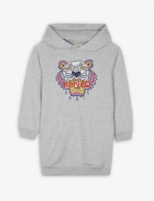 KENZO Tiger logo cotton-blend hooded dress 4-16 years