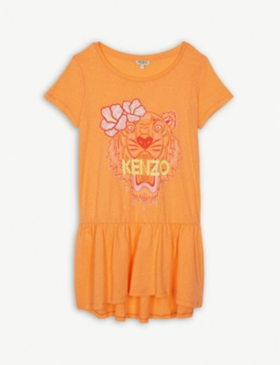 KENZO Floral tiger head cotton T-shirt dress 4-14 years