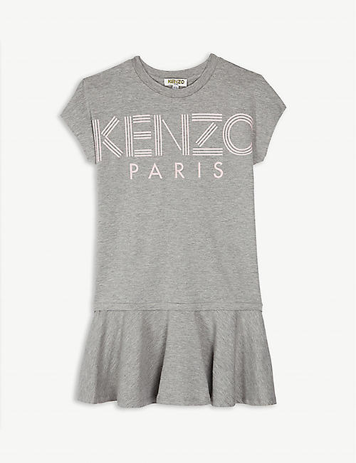 KENZO Logo short-sleeved cotton-blend dress 4-14 years 4a11a24f9c2
