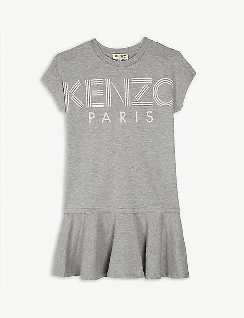 KENZO Logo short-sleeved cotton-blend dress 4-14 years 5793105dd09