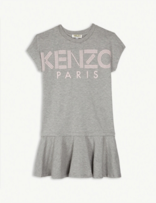 KENZO Logo short-sleeved cotton-blend dress 4-14 years