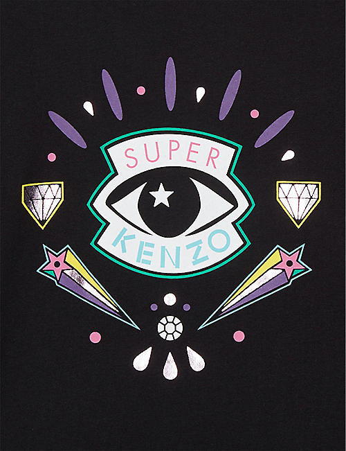 KENZO Super eye frilled cotton T-shirt 4-14 years