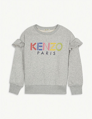 KENZO Logo frill detail cotton jumper 4-14 years
