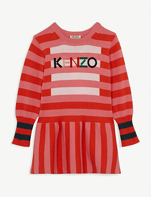 KENZO Logo striped cotton and wool-blend dress 4-14 years
