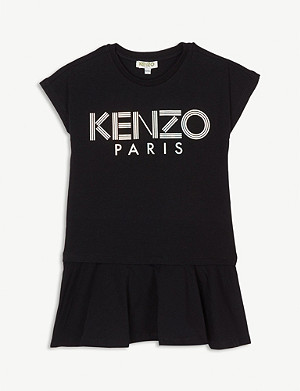 KENZO Metallic logo cotton-blend dress 4-14 years