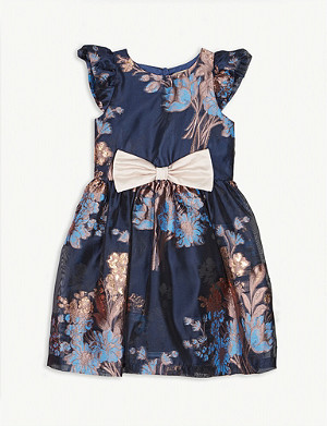 HUCKLEBONES Flutter sleeve embroidered chiffon dress 4-12 years