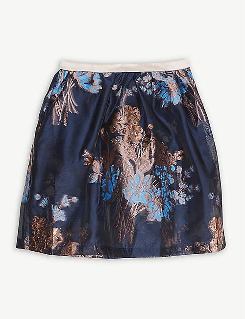 HUCKLEBONES Floral-embroidered chiffon midi skirt 4-12 years
