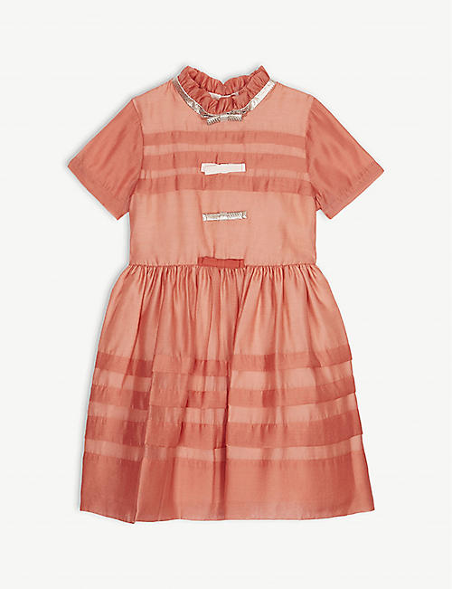 HUCKLEBONES Bow tiered crepe dress 4-12 years