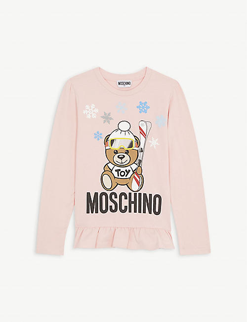 MOSCHINO Skiing teddy cotton-blend dress 4-14 years