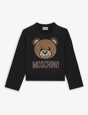MOSCHINO Crystal bear cropped cotton sweatshirt 4-14 years