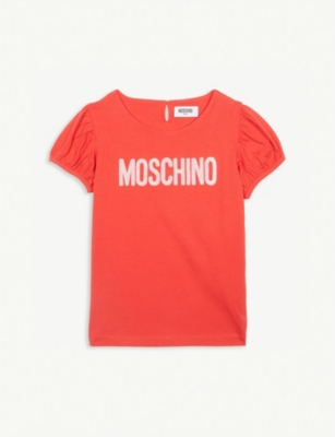 MOSCHINO Sequin logo cotton-blend T-shirt 4-14 years
