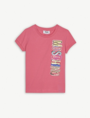 MOSCHINO Sequinned logo cotton-blend T-shirt 4-14 years