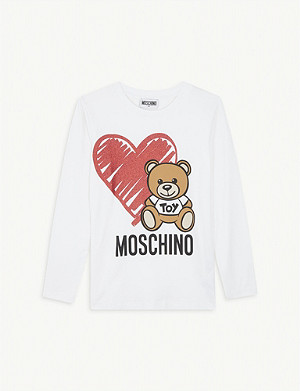 MOSCHINO Bear heart long-sleeve cotton T-shirt 4-14 years